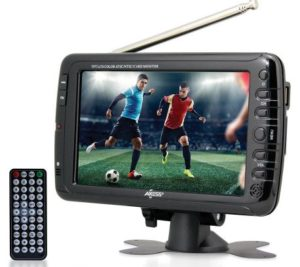 Axess 7-Inches AC DC, LCD TV with ATSC Tuner, Rechargeable Battery and USB SD Inputs, Best Portable TV 1703-7