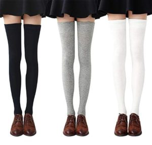 Chalier 3-4 Pairs Womens Thigh High Socks Cotton Striped Over the Knee Socks Long Knee High Socks for Women