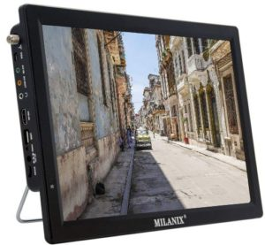 Milanix 14.1 Widescreen LED Best Portable TV with HDMI, VGA, MMC, FM, USB SD Card Slot, Built-in Digital Tuner, AV Inputs, and Remote Control