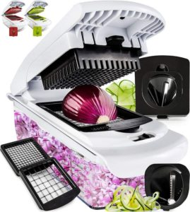 Fullstar Vegetable Chopper - Spiralizer Vegetable Slicer - 4 Blades Best Onion Choppers