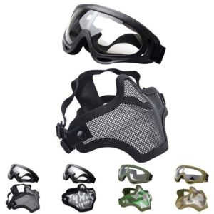 Outgeek Airsoft Half Face Mask Steel Mesh and Goggles Set, One among Best Airsoft Goggles