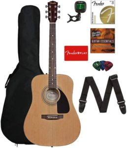 Fender Acoustic Guitar Bundle, Best Cheap Acoustic Guitar comes with Big Bag, Tuner, Strings, Strap, Pick, Instructional DVD