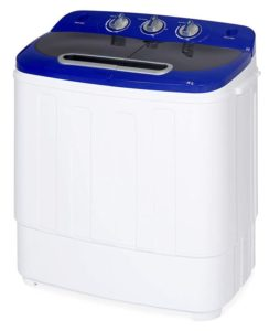 Best Choice Products Portable Compact Twin Tub Laundry Machine & Spin Cycle w Hose, 13lbs Capacity - White Blue