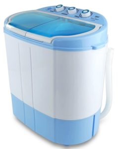 Upgraded Version Pyle Portable Washer & Spin Dryer, Mini Washing Machine, Twin Tubs, Spin Cycle w Hose, 11lbs. Capacity, 110V…