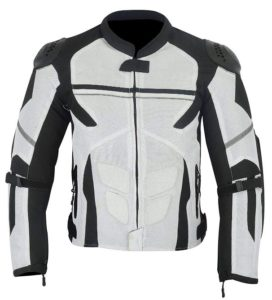 Leather Teknik Men's Motorcycle Armored HIGH Protection with External Armor MESH Waterproof All Weathers Jacket White Black MJ-1701 XL