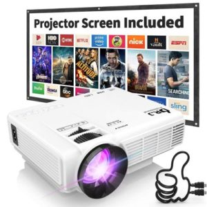 DR. J Professional HI-04 1080P Supported Portable Movie Projector, 3600L Mini Projector with 100Inch Projector Screen… (Latest Upgrade)