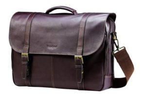 Samsonite Colombian Leather Flap-over Messenger Bag Laptop, Brown