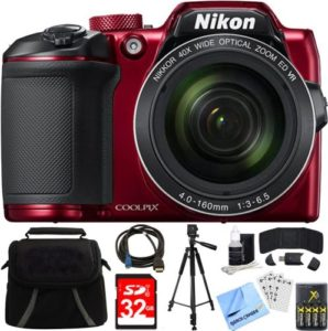 Nikon 26508 COOLPIX B500 Best Camera under 300 with 16MP 40x Optical Zoom, 32GB Memory Card, and Camera Bag…