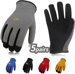 Vgo 5Pairs Multi-Functional, Gardening, Training, Crafting Best Work Gloves, Value Pack