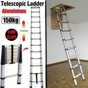 3.8M 12.5FT Aluminum Telescoping Ladder & Best Attic Ladder, EN131