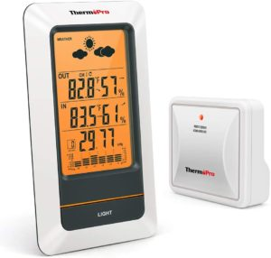 ThermoPro TP67 Rechargeable Weather Station Wireless Indoor Outdoor Thermometer Digital Hygrometer Barometer with Cold-Resistant…