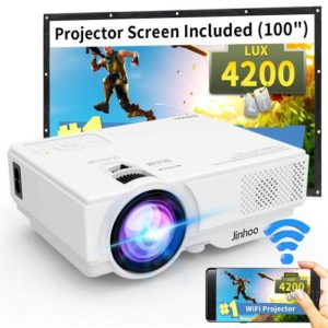 WiFi Mini One of the Best Projector Under 100, Jinhoo 2020 Latest Update 4200 LUX