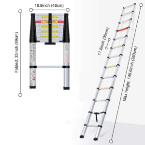 WolfWise Aluminum Telescopic Extension Ladder with Multi-Purpose Use