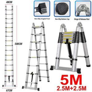 Luisladder 16.5 ft (5m), Best Extension Ladder A-Frame Shape, Anti Slip Ladder