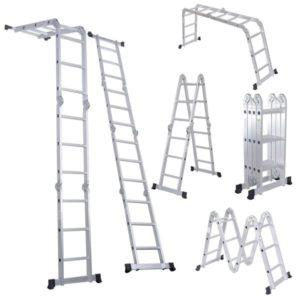 Luisladders Folding Ladder Multi-Purpose Aluminum Extension 7 in 1 Step Heavy Duty Combination EN 131 Standard (12.5 Feet)