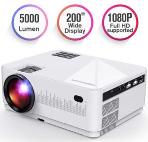 DBPOWER L21 LCD Video Projector, Upgraded 5000L 1080P 1920x1080 Supported Full HD Mini Movie Projector with HDMIx2 USB SD AV Ports