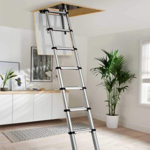 Youngman 301000 Telescopic Loft Ladder Aluminium 2.6 Metres 8.53 Feet, Silver, 86 x 48 x 12 cm