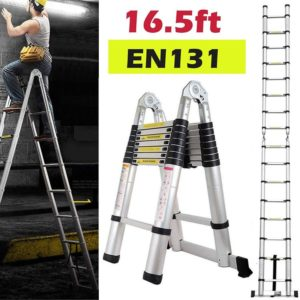 16.5 ft Aluminum Telescoping Extension Ladder for Weight Capacity 330lbs, A Shape Frame Ladder