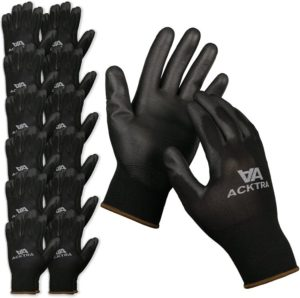 ACKTRA Ultra-Thin Polyurethane (PU) Coated Nylon Safety Best WORK GLOVES 12 Pairs, Knit Wrist Cuff, for Precision Work, for Men & Women…