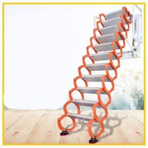Aluminum Alloy Household Retractable Ladder for Loft Home Folding Step Best Attic Ladder pull-down (Vertical Height 3.7 m)