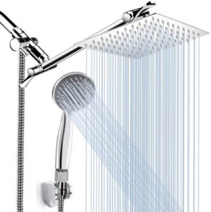 High Pressure Rainfall Shower Head, 8-inch and 11-inch Extension Arm
