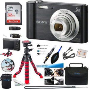 Sony W800 (Black), 32GB Memory Card, Expo-Basic Accessory Bundle
