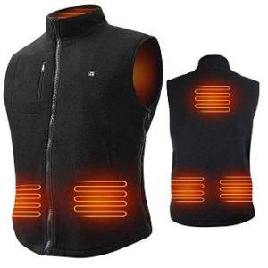 ARRIS Heated Vest Size Adjustable 7.4V Battery Electric Fleece Warm Vest 6 Heating Panels