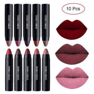BONNIE CHOICE 10 Colors Moisturizing Matte Lip Pencil Crayon, Velvet Lipstick Waterproof Long Lasting Makeup…