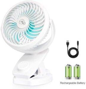 Best Stroller Fan Clip on Desk, 4400mAh Rechargeable Battery