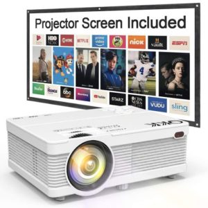 QKK Mini One of the Best Projectors Under 100 with 4500Lumens Portable LCD Projector [100 Projector Screen Included] Full HD 1080P…
