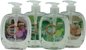 WBM Care Gift Set Hand Wash Lemon & Green, Sandalwood & Jasmine, Lavender & Almond, Tea Tree & Rosemary 4 in 1