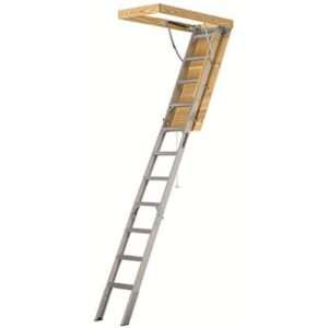 Best Attic Ladder 25-1 2 by 54-Inch Elite, 7 8 -10-Foot Ceiling Height, 375-Pound Capacity, Type IAA, AA2510, Aluminum Ladder