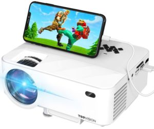 Mini Projector, TOPVISION Projector with Synchronize Smart Phone Screen, Under 100 Best Projectors