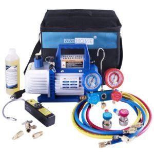 VIVOHOME 110V 1 3 HP 4CFM Single-Stage Rotary Vane Air Vacuum Pump and R134a…