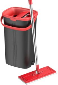 Best mop for laminate floors and Bucket Set for Professional Home Floor Cleaning System with Aluminum Handle 2-Washable Microfiber Pads Perfect Home…