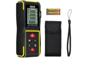 URCERI Laser Measure 131ft, Digital Laser Distance Meter with Mute Function, LCD Backlit Display and Bubble Levels, Measure Distance, Area and Volume, Pythagorean Mode