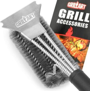 GRILLART Best Grill Brush and Scraper, Best BBQ Brush for Grill, Safe 18 Stainless Steel Woven Wire 3 in 1 Bristles Grill Cleaning Brush for Weber Gas Charcoal Grill, Gifts