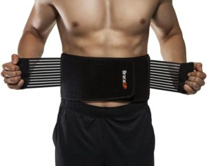 Stabilizing Lumbar Lower Best Back Brace Support Belt, Dual Adjustable Straps Breathable Mesh Panels (L XL)