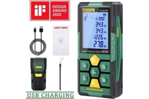Laser Measure 196ft TECCPO Pro with Li-ion Battery, 99 Sets Data Storage, Electronic Angle Sensor, 2.25' LCD Backlit, Mute Function, Measure Distance, Area, Volume and Pythagoras