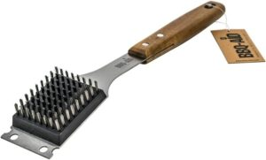BBQ-Aid Barbecue Grill Brush and Scraper – Extended, Large Wooden Handle and Stainless Steel Bristles – No Scratch Cleaning for Any Grill Char Broil Ceramic