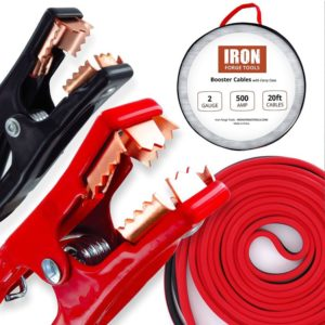 Iron Forge Tools 20 Foot Best Jumper Cables with carrying Bag - 2 Gauge 500 AMP Booster Cable Kit
