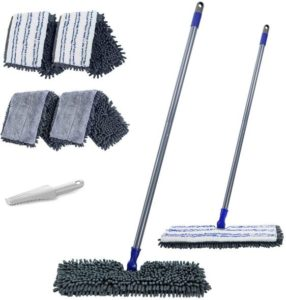Microfiber Flip Flat Dust Mop 16.8 Reversible Floor Mop with 4 Washable Mop Pads Refills and 1 Cleaning Comb for Hardwood Laminate Ceramic Marble Tile Floors Cleaning