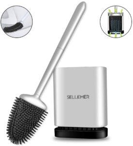Sellemer Bathroom Toilet Brush and Holder Set, Toilet Bowl Cleaner Brush with Holder for Bathroom Storage…
