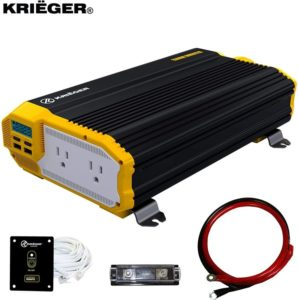 Krieger 1500 Watts Power Inverter 12V to 110V, Modified Sine Wave Car Inverter, Dual 110 Volt AC Outlets…