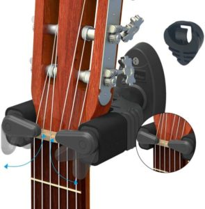 Guitar Wall Mount Hanger & Guitar Pick Holder, Auto Lock Design, Fits All Size Acoustic Electronic Guitar Bass plastic black