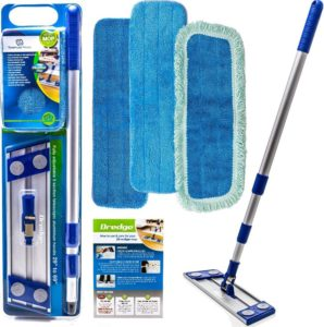Professional Microfiber Best Mop for Laminate Floors & Stone Floors Dredge Best All in 1 kit Dry & Wet Cleaning +3 Advanced Drag Resistant Pads…