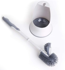 TreeLen Toilet Brush and Holder,Toilet Bowl Cleaning Brush Set,Under Rim Lip Brush and Storage Caddy for Bathroom