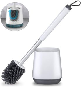 POPTEN Best Toilet Brush and Holder Set for Bathroom with Aluminum Handle & Soft Silicone Bristle Sturdy Cleaning – White