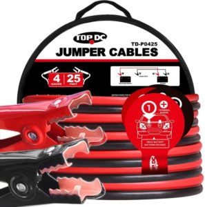 TOPDC Best Jumper Cables 4 Gauge 25 Feet Heavy Duty Booster Cables with carrying Bag (4AWG x 25Ft)