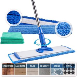 Best mop for laminate floors 18 Professional Microfiber Mop, Adjustable Stainless Steel Handle, 3 Premium Mop Pads 2 Free Microfiber Cloths, Perfect for Wet and Dust…